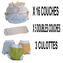 Start Pack, 16 couches lavables Evolutive Lulu Bambou + 3 Lulu Boxer L - mixte