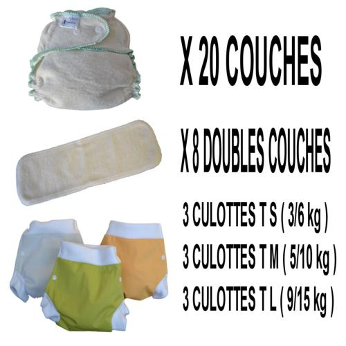 Confort Pack  0-3 ans, 20 couches lavables Lucie Nature Chanvre - 3 x 3 Lulu Boxer - mixte