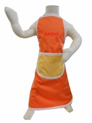 tablier imperméable enfant Orange + Broderie