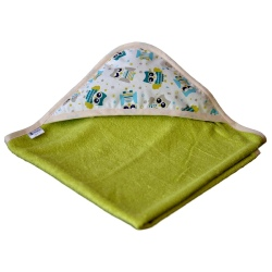 cape de bain bambou all color Verte - Capuche Hibou