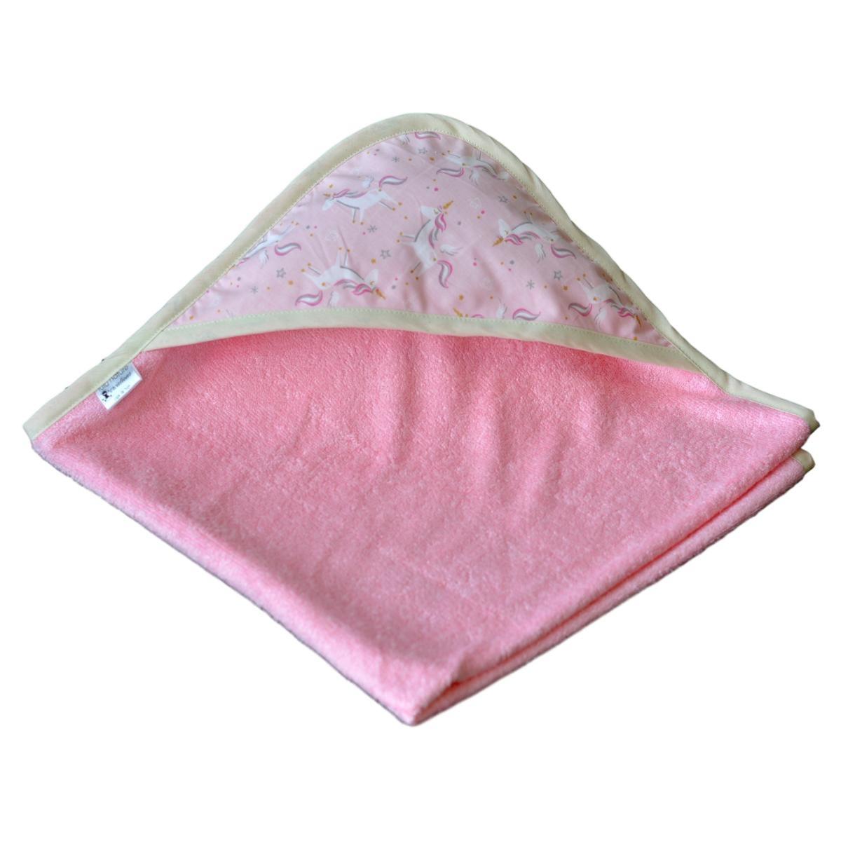 cape de bain b b fille sortie de bain rose licorne. Black Bedroom Furniture Sets. Home Design Ideas