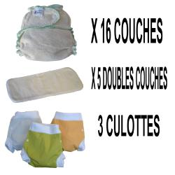 Start Pack, 16 couches lavables Evolutive Lucie Nature chanvre + 3 Lulu Boxer S - mixte