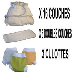 Start Pack, 16 couches lavables Evolutive Modulo Bio (coton bio) + 3 Lulu Boxer L - mixte