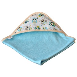 cape de bain bambou all color Bleu - Capuche Hibou