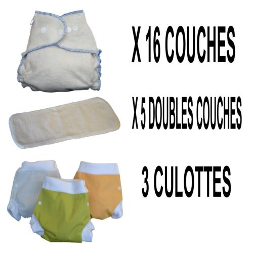 Start Pack, 16 couches lavables Evolutive Dooble Nature chanvre + 3 Lulu Boxer S - mixte